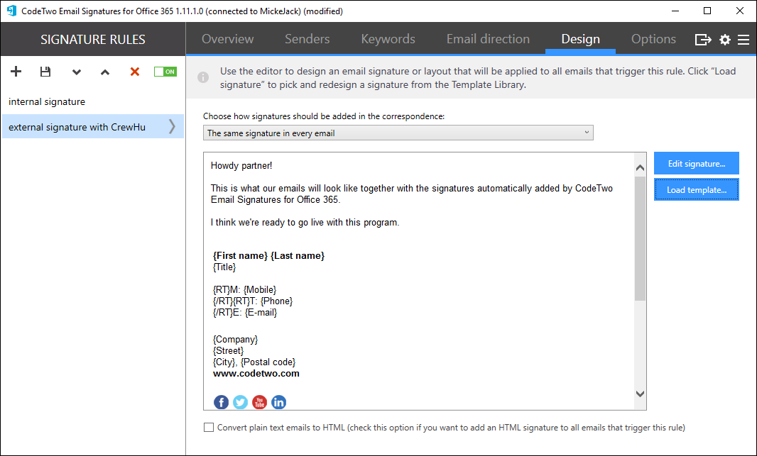 code two email signatures with surveys office 365 crewhu